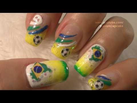 World Cup Brazil Nail Art Tutorial / FIFA Mundial BraZil Arte para las unas