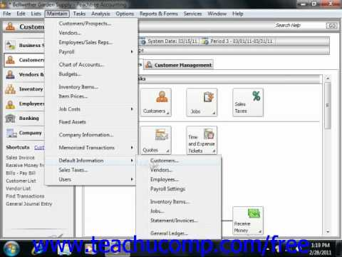 Peachtree Tutorial General Ledger Default Settings Sage Training Lesson 3.1