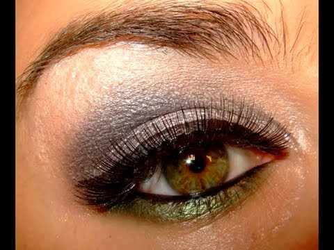 Smokey Silver & Green Make up look