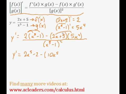 Quotient Rule - Finding the Derivative (Calculus) - (pt. 1)