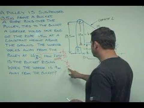 Related rate problem -- bucket pulley and worker -- excerpt
