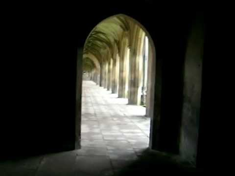 Walking through interior court at the University of Cambridge