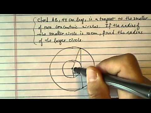 Tangent Chord to Concentric Circles: Chord  is a tangent to the smaller of two concentric circles.