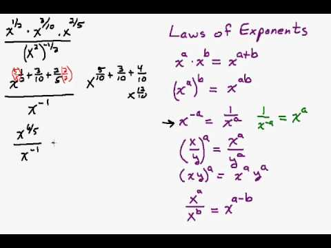 Simplify Fractional Exponents Using the Laws of Exponents Part 2
