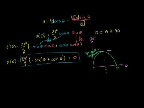 Optimal angle for a projectile part 4   Finding the optimal angle and distance with a bit of calculus