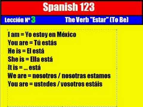 "Spanish Lesson. 3. The Verb ""Estar"" ( To Be )"