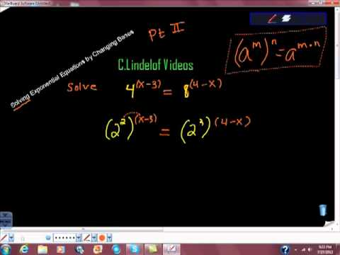 Solving Exponential Equations by Changing Bases Pt II