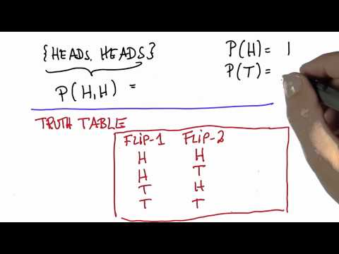 Two Flips 5 - Intro to Statistics - Probability - Udacity