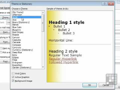 Outlook 2010 Tutorial - Using Stationery Themes for Emails