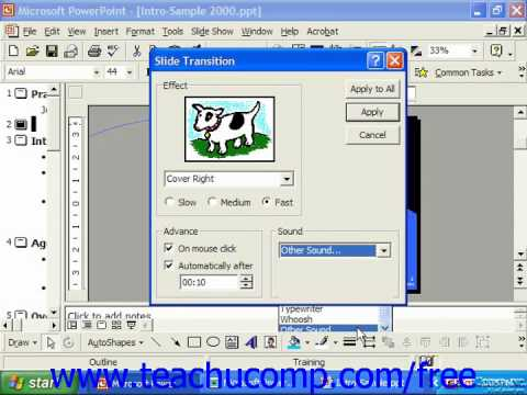 PowerPoint 2003 Tutorial Adding Transitioin Animation Sound 2000 & 97 Microsoft Training Lesson 17.7
