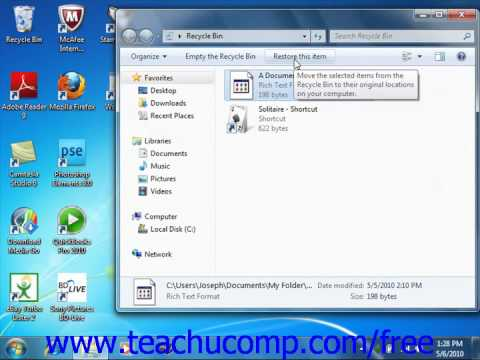 Windows 7 Tutorial The Recycle Bin Microsoft Training Lesson 6.10