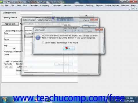 QuickBooks 2011 Tutorial Using Custom Fields Intuit Training Lesson 3.10