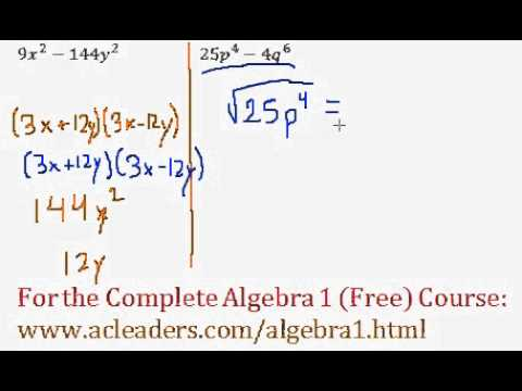 Polynomials - Difference of Two Squares Questions #7-8