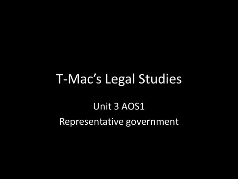 VCE Legal Studies - Unit 3 AOS1 - Parliament - Representative Government