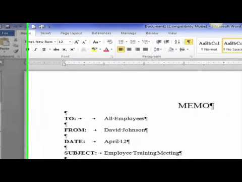 "Saylor PRDV 003: Word Processing -""Creating a Block Style Business Memo"""