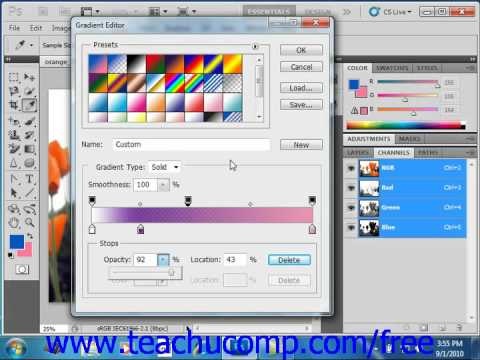 Photoshop CS5 Tutorial Using the Gradient Editor Adobe Training Lesson 8.4