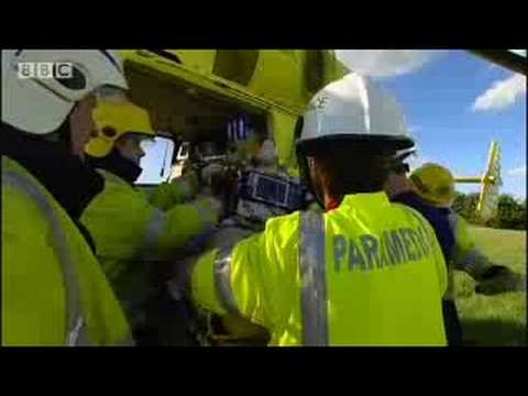 Real life helicopter rescue of man from car crash - BBC
