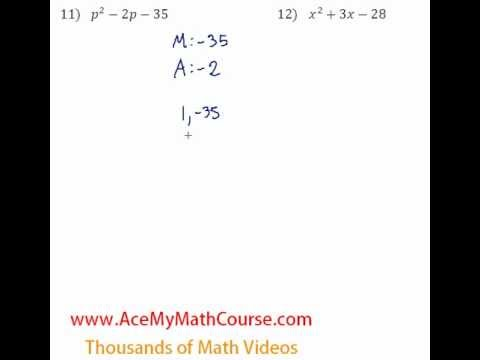 Polynomials - Factoring Trinomials Question #11