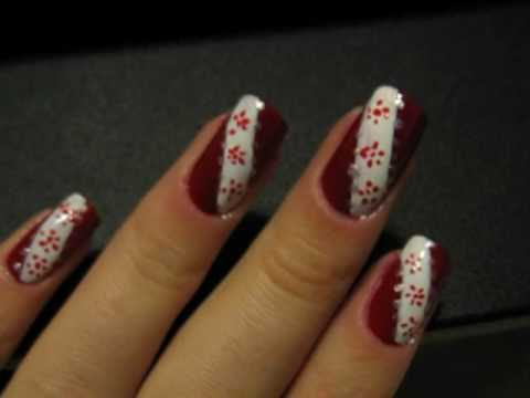 Nails with red little flowers
