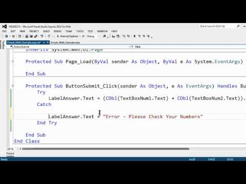 Visual Studio Express 2012 For Web Tutorial 5 Prevent Crashes With Try Catch