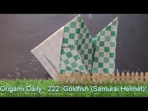 Origami Daily - 222: Goldfish (Samurai Helmet) - TCGames [HD]