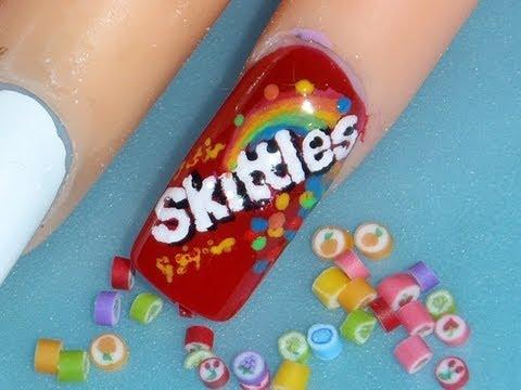 Sweets: *Skittles, Taste The RainBow* Nail Art Design