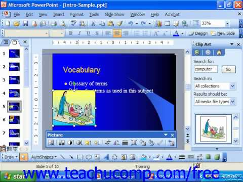 PowerPoint 2003 Tutorial Deleting Clip Art Microsoft Training Lesson 9.6