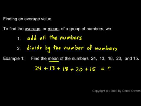 Prealgebra 9.5a - Introduction to Statistics - Mean
