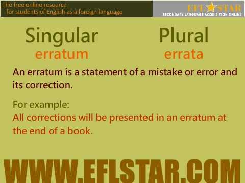 Vocabulary - Irregular Nouns - Academic Lingo