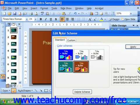 PowerPoint 2003 Tutorial Creating a Custom Color Scheme Microsoft Training Lesson 23.2