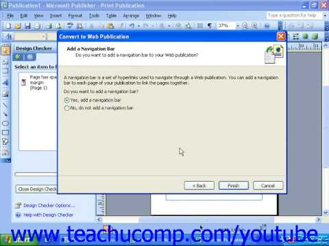 Publisher 2003 Tutorial Converting a Publication to a Web Page Microsoft Training Lesson 10.1