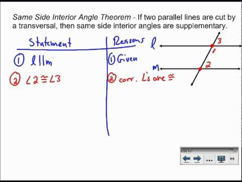 Same-Side Interior Angles - Proof