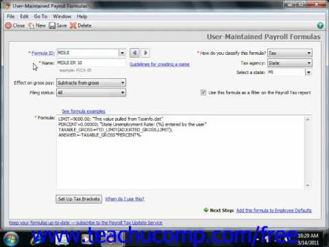 Peachtree Tutorial Creating Payroll Formulas 2009 2011 Sage Training Lesson 7.7