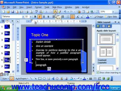 PowerPoint 2003 Tutorial Copying & Pasting Text Microsoft Training Lesson 7.8