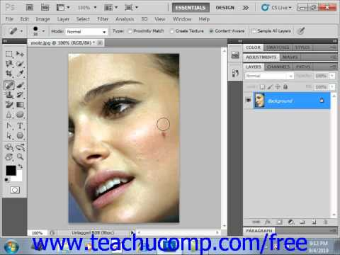 Photoshop CS5 Tutorial The Spot Healing Brush Tool Adobe Training Lesson 14.18