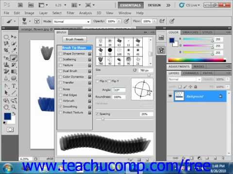 Photoshop CS5 Tutorial Creating Custom Brush Tips in the Brush Pane Adobe Training Lesson 6.3