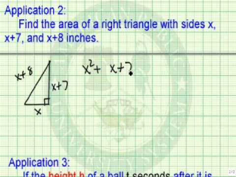 Solve Applications Involving Quadratic Equations