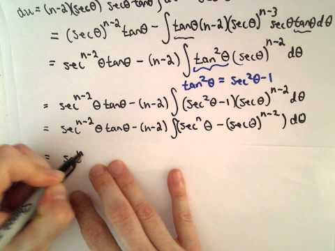 Reduction Formula for: Integral of  [ sec(x) ] ^ n dx