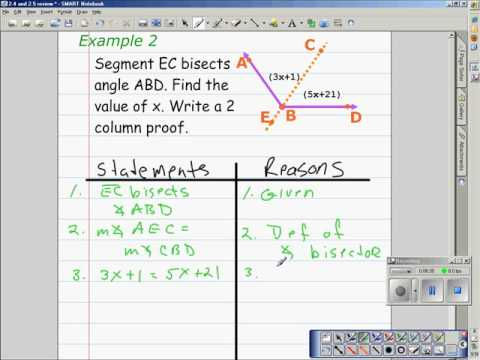 Proof with Algebra - Angle Bisector Theorem 2.4&2.5 Review