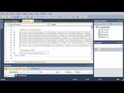 Visual Basic Tutorial - 115 - Car Part 10   Adding The Cars To A List