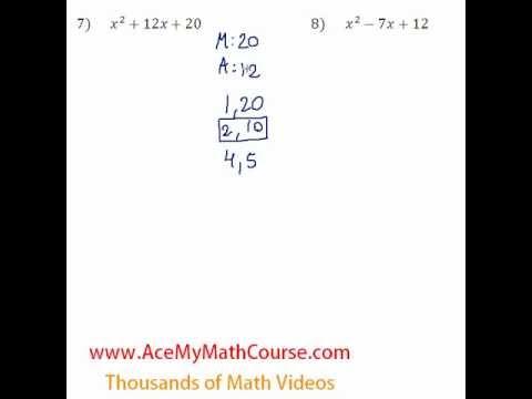Polynomials - Factoring Trinomials Question #7