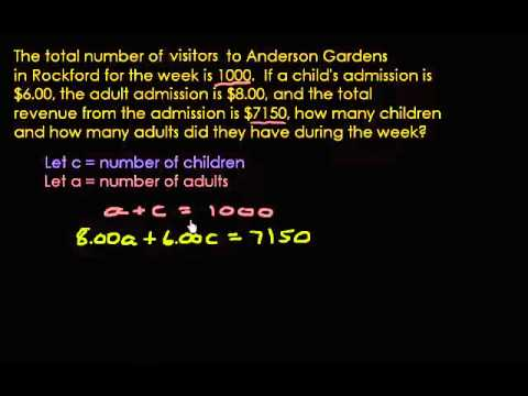 Word Problem using the Addition and Substitution Method
