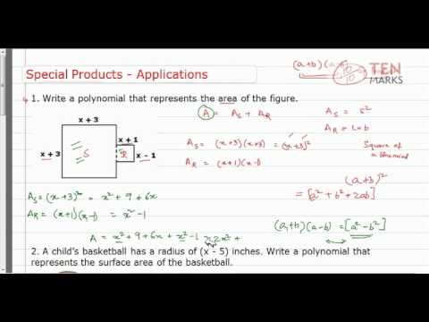 Special Products of Binomials-Application