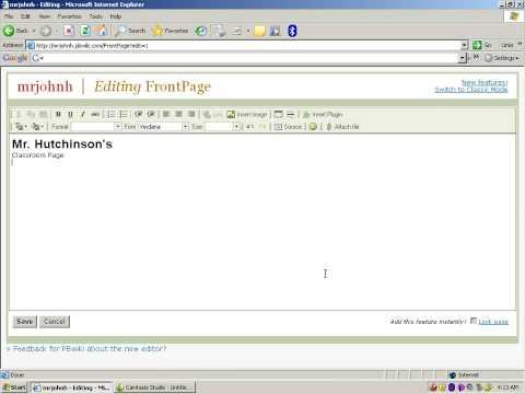 PB Wiki  Editing a Page