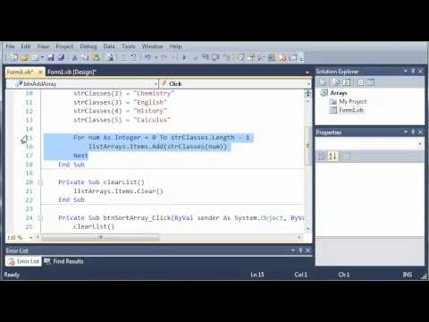 Visual Basic Tutorial - 60 - Sorting And Reversing Arrays