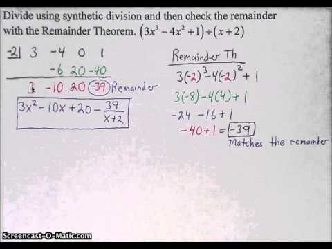 Synthetic Division & Remainder Th
