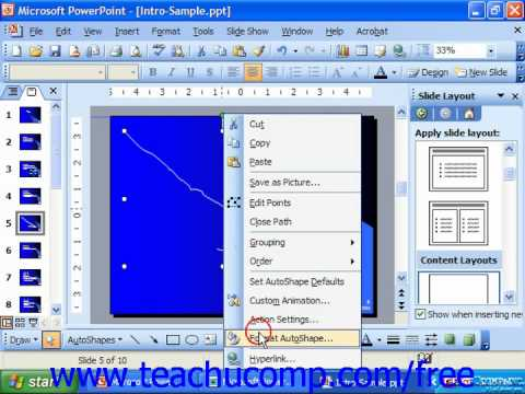 PowerPoint 2003 Tutorial Inserting AutoShapes Microsoft Training Lesson 19.1
