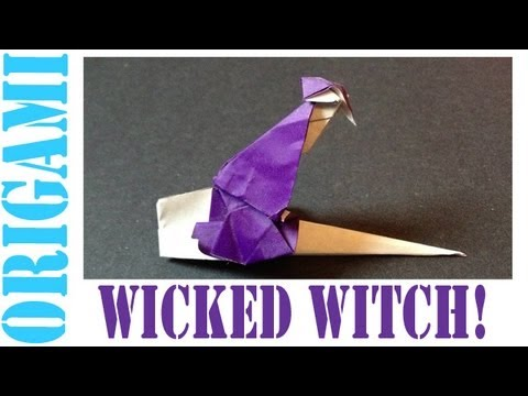 Origami Daily - 035: Halloween Wicked Witch On A Broom (With Wings) - TCGames [HD]