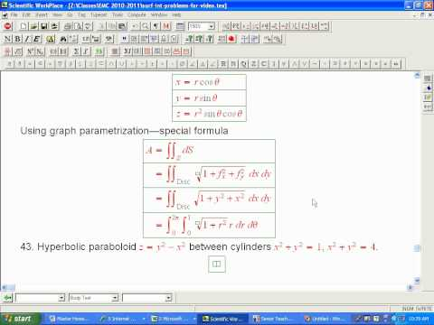 Surface area problems (parametrized surfaces)