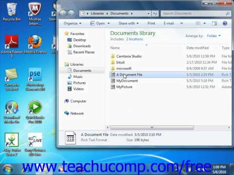 Windows 7 Tutorial Opening a File Microsoft Training Lesson 6.3
